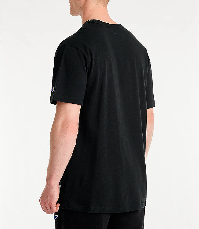 Back Left view of Men's Champion Century Collection Chenille Logo T-Shirt in Black