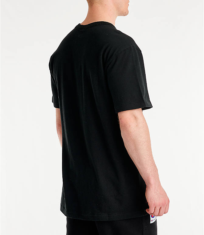 Back Right view of Men's Champion Century Collection Chenille Logo T-Shirt in Black