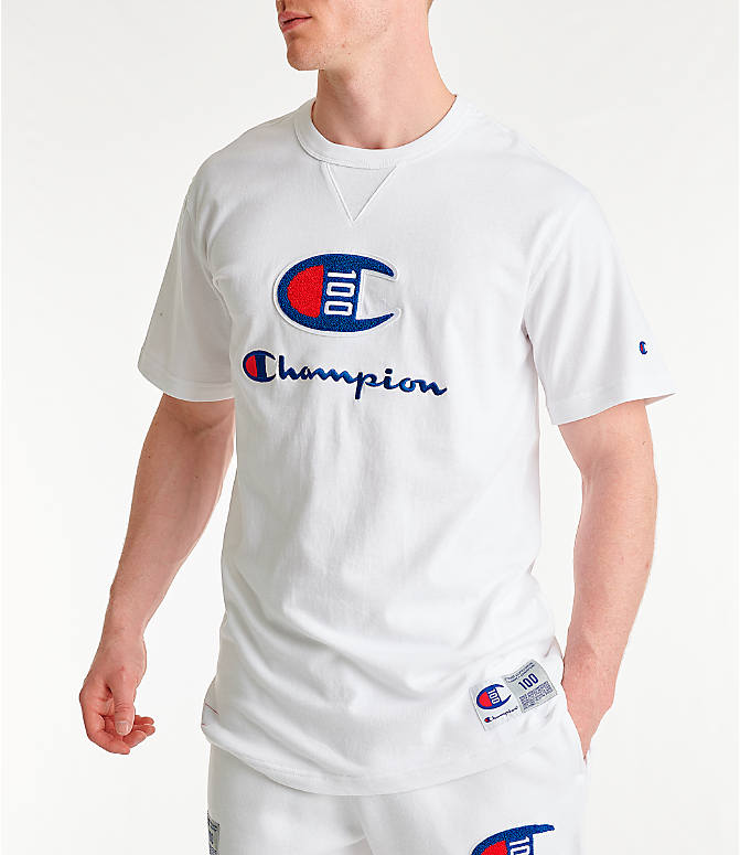 7b7ab2e41 Front view of Men's Champion Century Collection Chenille Logo T-Shirt in  White
