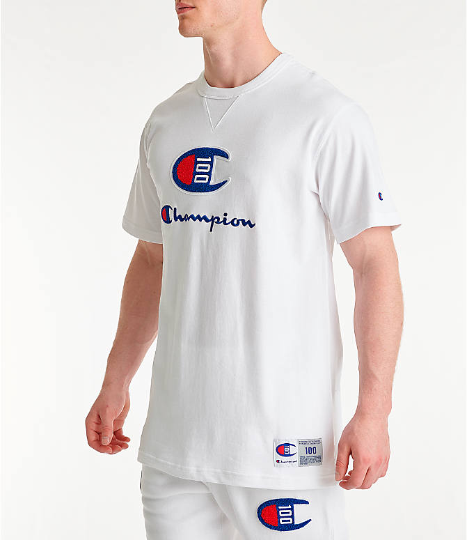 5517cae31b93 Front Three Quarter view of Men s Champion Century Collection Chenille Logo  T-Shirt in White