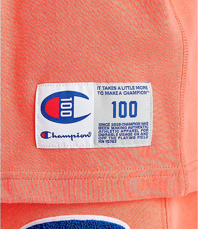Detail 1 view of Men's Champion Century Collection Chenille Logo T-Shirt in Groovy Papaya