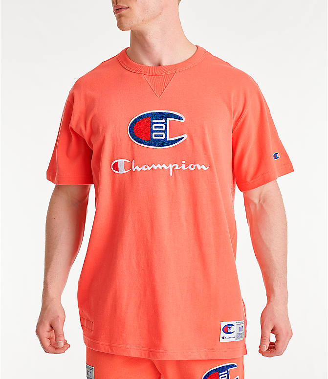 Front view of Men's Champion Century Collection Chenille Logo T-Shirt in Groovy Papaya