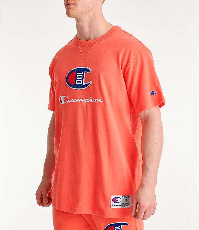 Front Three Quarter view of Men's Champion Century Collection Chenille Logo T-Shirt in Groovy Papaya