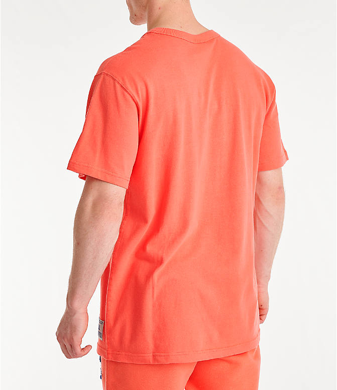 Back Left view of Men's Champion Century Collection Chenille Logo T-Shirt in Groovy Papaya