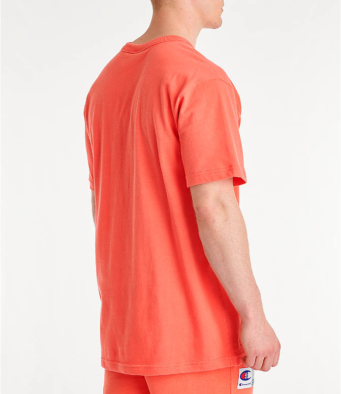 Back Right view of Men's Champion Century Collection Chenille Logo T-Shirt in Groovy Papaya