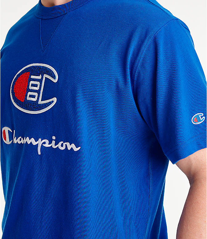 Detail 2 view of Men's Champion Century Collection Chenille Logo T-Shirt in Surf the Web