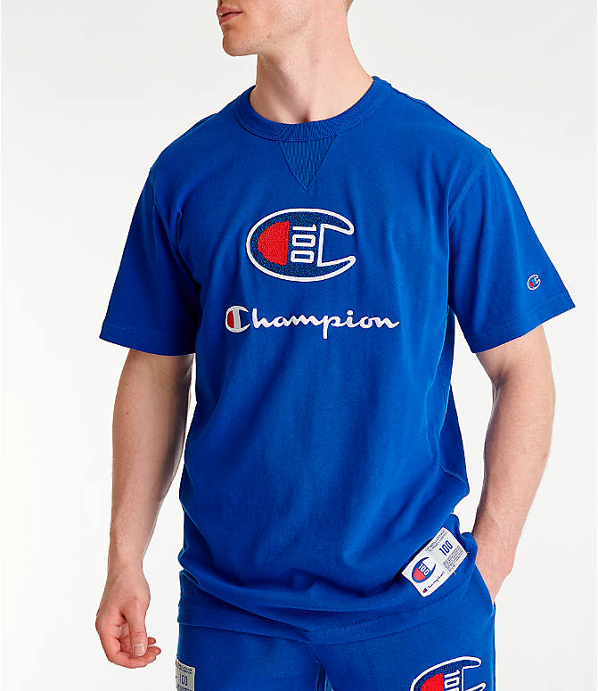 Front view of Men's Champion Century Collection Chenille Logo T-Shirt in Surf the Web