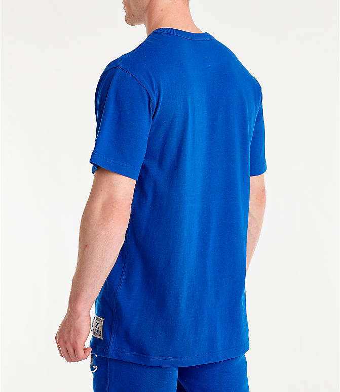 Back Left view of Men's Champion Century Collection Chenille Logo T-Shirt in Surf the Web