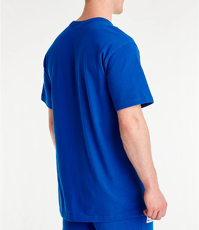 Back Right view of Men's Champion Century Collection Chenille Logo T-Shirt in Surf the Web