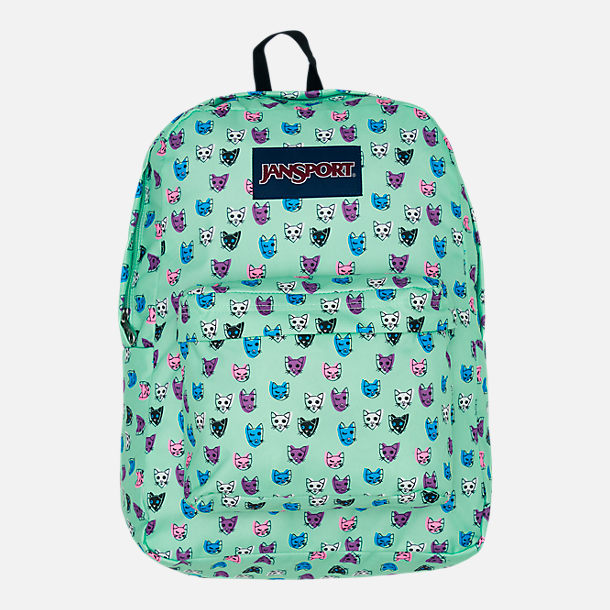 Front view of JanSport Superbreak Backpack in Brook Green Cool Cats