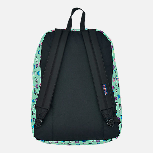 Back view of JanSport Superbreak Backpack in Brook Green Cool Cats 58947ddf338cc