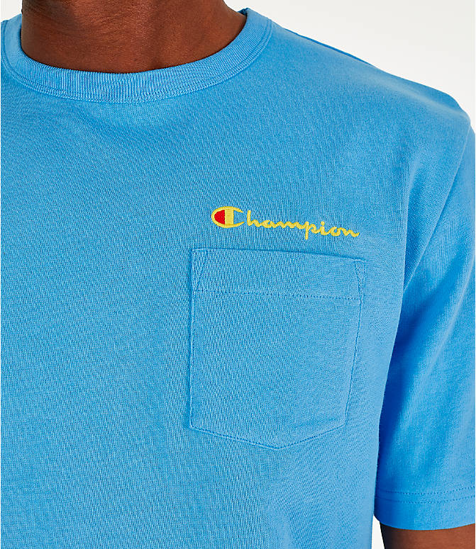 Detail 1 view of Men's Champion Heritage Pocket T-Shirt in Active Blue