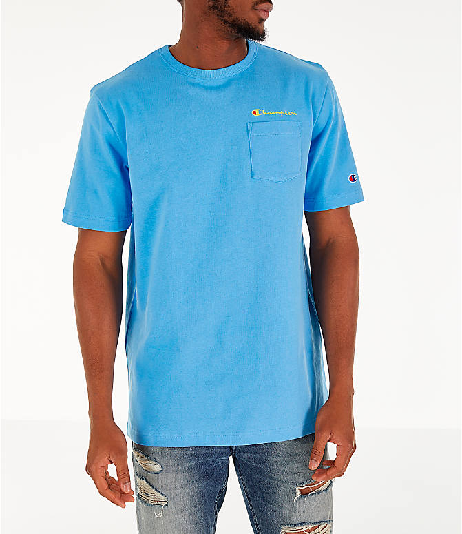 Front view of Men's Champion Heritage Pocket T-Shirt in Active Blue