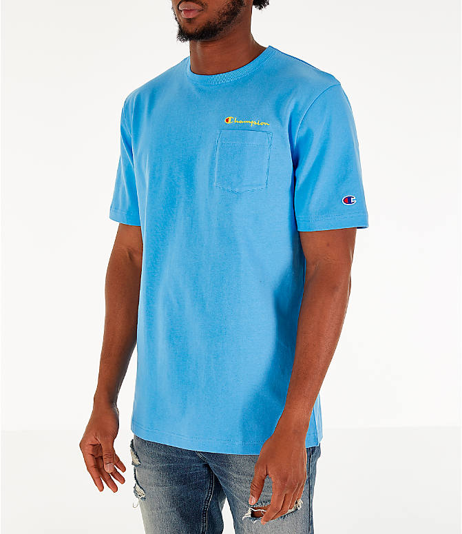Front Three Quarter view of Men's Champion Heritage Pocket T-Shirt in Active Blue