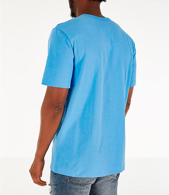 Back Left view of Men's Champion Heritage Pocket T-Shirt in Active Blue