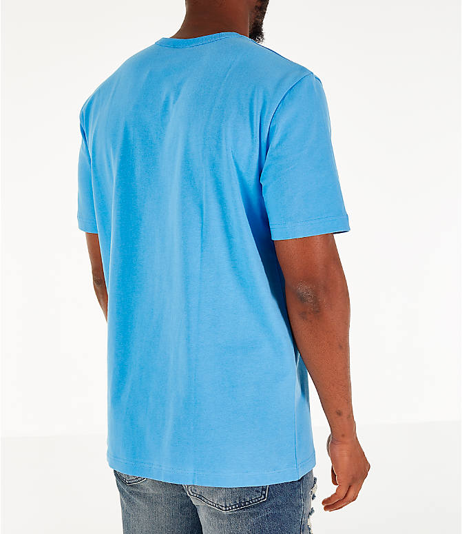 Back Right view of Men's Champion Heritage Pocket T-Shirt in Active Blue