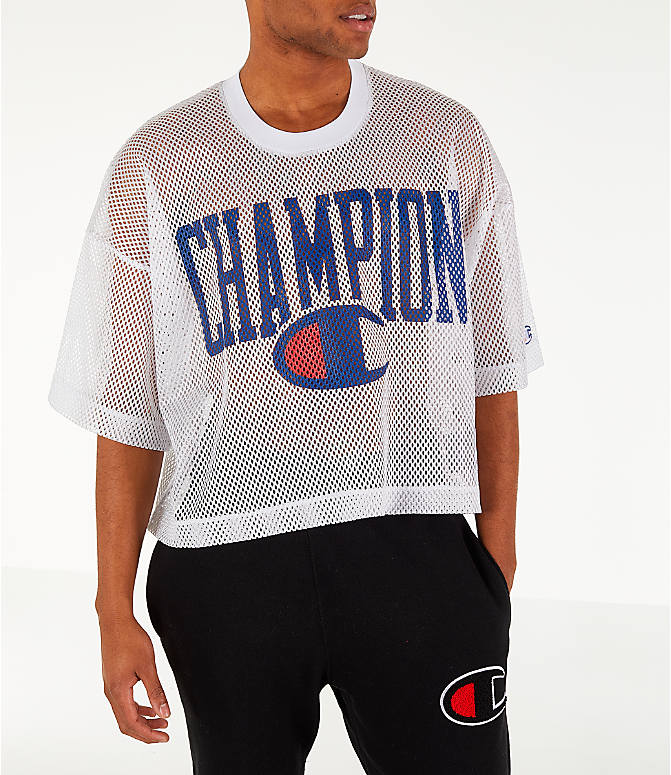 Front view of Men's Champion Mesh Football Jersey T-Shirt in White