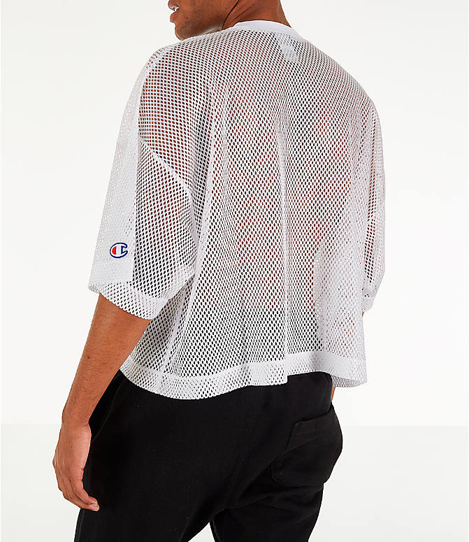 Back Left view of Men's Champion Mesh Football Jersey T-Shirt in White