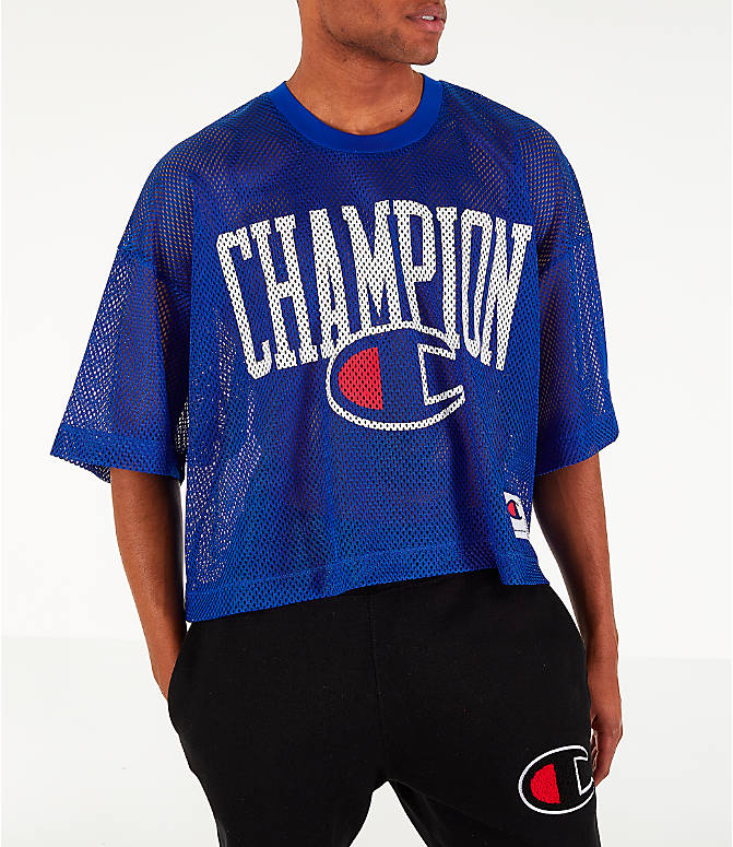 Front view of Men's Champion Mesh Football Jersey T-Shirt in Surf the Web
