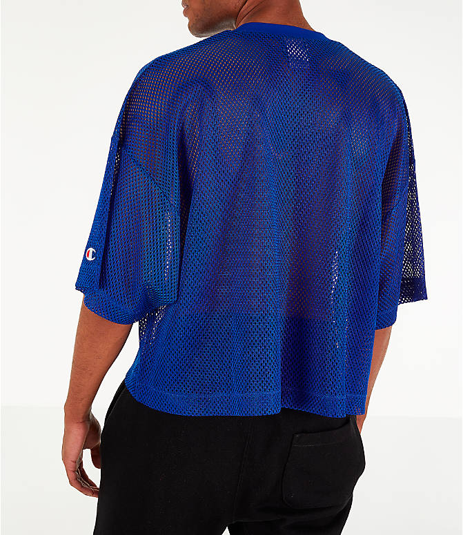 Back Left view of Men's Champion Mesh Football Jersey T-Shirt in Surf the Web