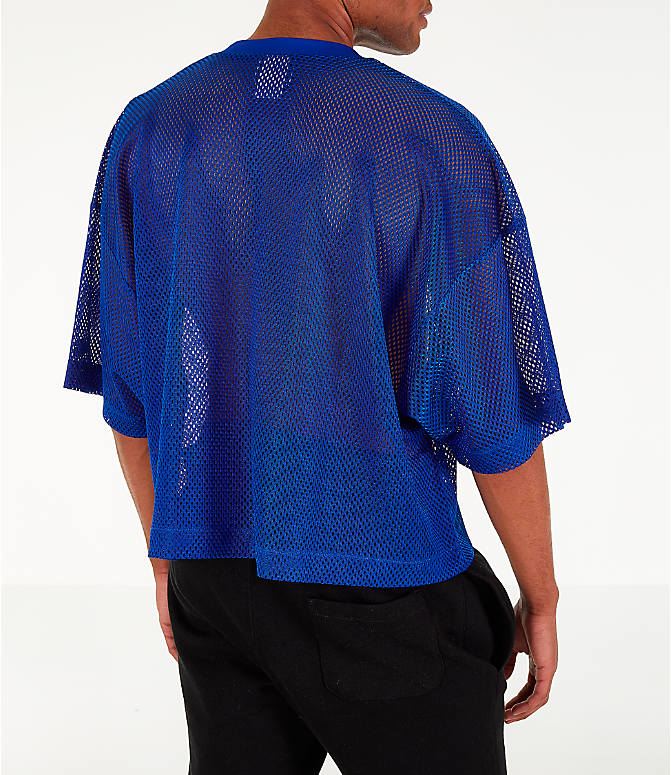 Back Right view of Men's Champion Mesh Football Jersey T-Shirt in Surf the Web