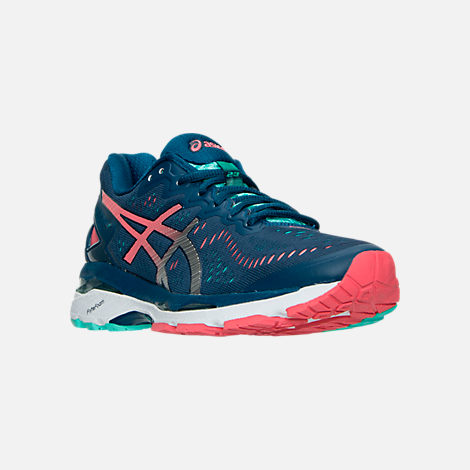 Three Quarter view of Women's Asics Gel Kayano 23 Running Shoes in Poseidon/Silver/Cockatoo