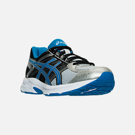Three Quarter view of Men's Asics GEL-Contend 4 Running Shoes in Silver/Classic Blue/Black