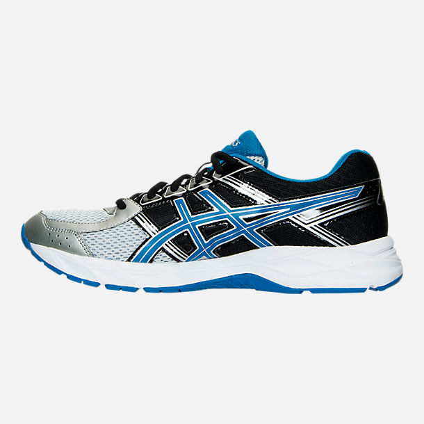 Left view of Men's Asics GEL-Contend 4 Running Shoes in Silver/Classic Blue/Black
