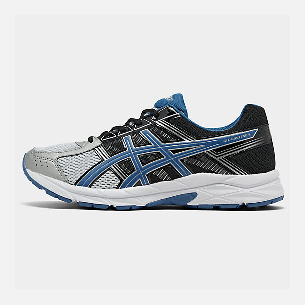 Right view of Men's Asics GEL-Contend 4 Wide Width Running Shoes in Silver/Classic Blue/Black
