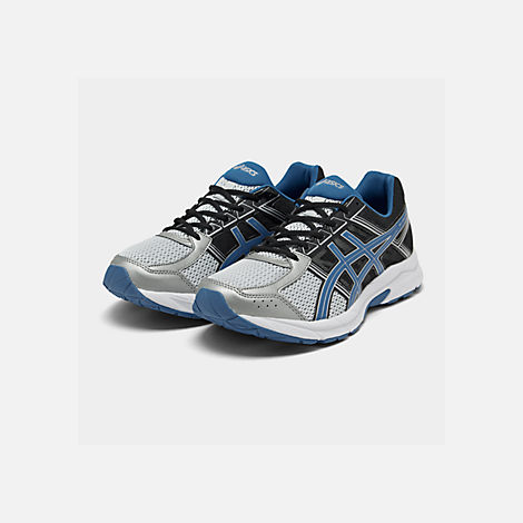 Three Quarter view of Men's Asics GEL-Contend 4 Wide Width Running Shoes in Silver/Classic Blue/Black