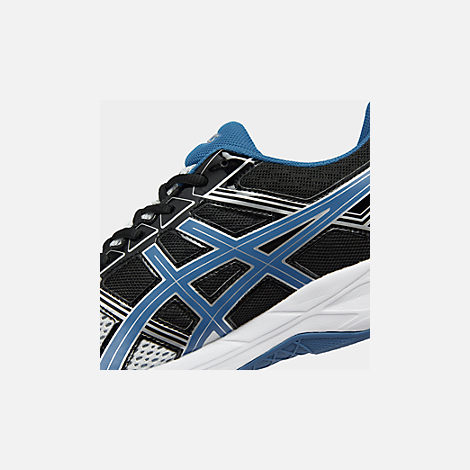 Front view of Men's Asics GEL-Contend 4 Wide Width Running Shoes in Silver/Classic Blue/Black
