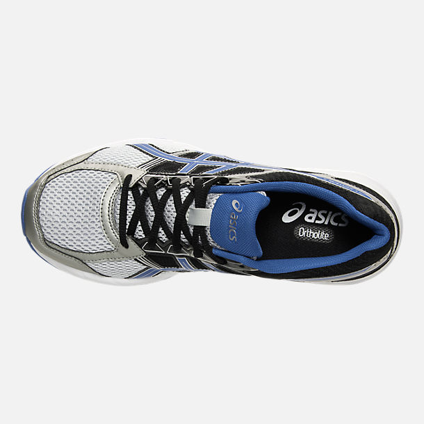 Top view of Men's Asics GEL-Contend 4 Wide Width Running Shoes in Silver/Classic Blue/Black