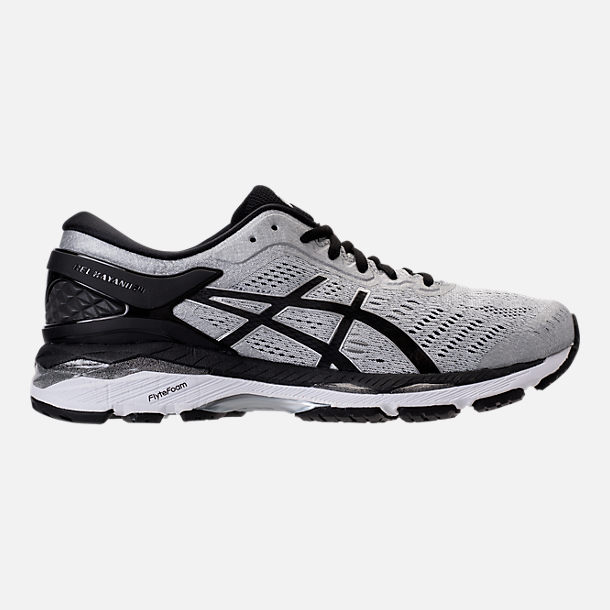 Right view of Men's Asics GEL-Kayano 24 Running Shoes in Silver/Black/Mid Grey