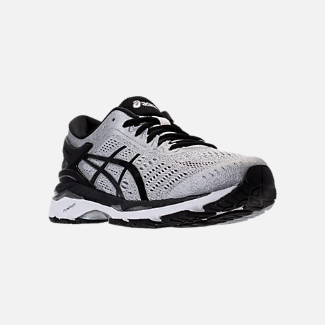 Three Quarter view of Men's Asics GEL-Kayano 24 Running Shoes in Silver/Black/Mid Grey