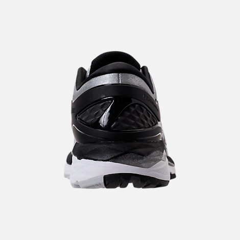 Back view of Men's Asics GEL-Kayano 24 Running Shoes in Silver/Black/Mid Grey