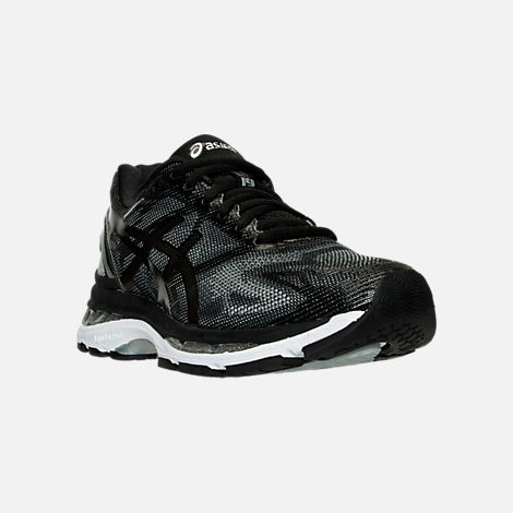 Three Quarter view of Women's Asics GEL-Nimbus 19 Running Shoes in Black/Onyx/Silver