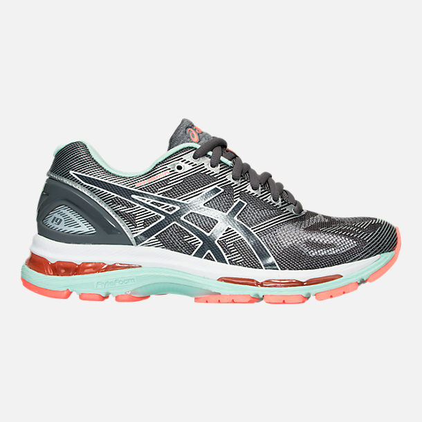 Right view of Women's Asics GEL-Nimbus 19 Running Shoes in Carbon/White/Flash Coral