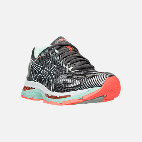 Three Quarter view of Women's Asics GEL-Nimbus 19 Running Shoes in Carbon/White/Flash Coral
