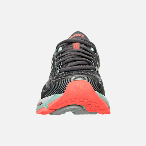 Front view of Women's Asics GEL-Nimbus 19 Running Shoes in Carbon/White/Flash Coral