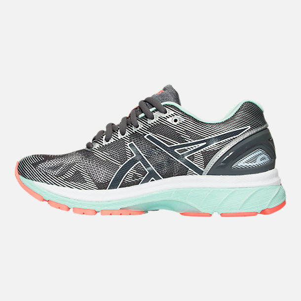 Left view of Women's Asics GEL-Nimbus 19 Running Shoes in Carbon/White/Flash Coral