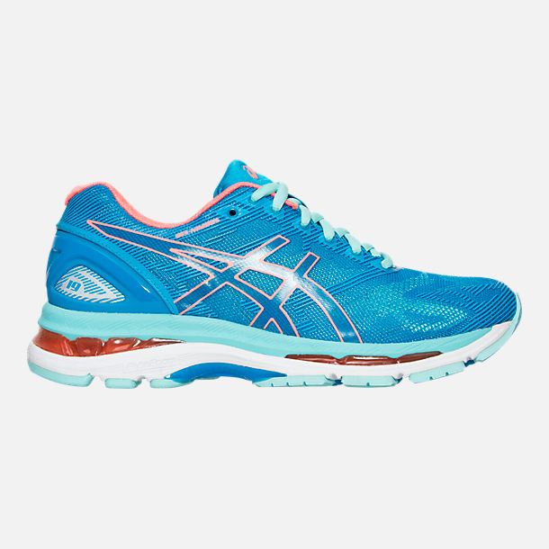 Right view of Women's Asics GEL-Nimbus 19 Wide Width Running Shoes in Blue/Coral