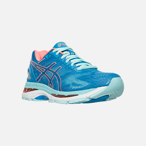 Three Quarter view of Women's Asics GEL-Nimbus 19 Wide Width Running Shoes in Blue/Coral