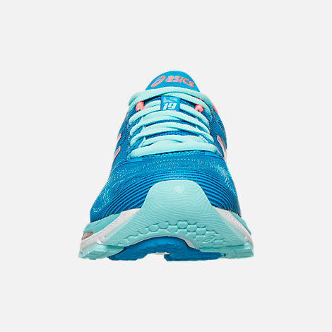 Front view of Women's Asics GEL-Nimbus 19 Wide Width Running Shoes in Blue/Coral