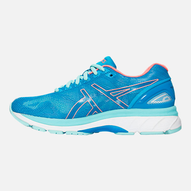 Left view of Women's Asics GEL-Nimbus 19 Wide Width Running Shoes in Blue/Coral