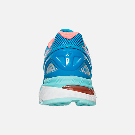 Back view of Women's Asics GEL-Nimbus 19 Wide Width Running Shoes in Blue/Coral