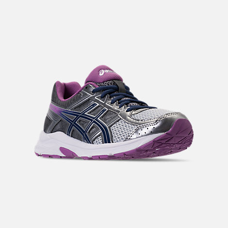 Three Quarter view of Women's Asics GEL-Contend 4 Running Shoes in Silver/Campanula/Carbon