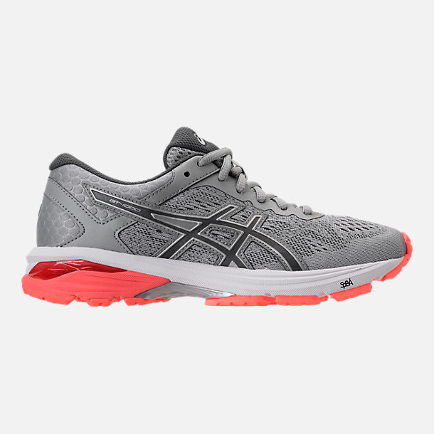 Right view of Women's Asics GT-1000 4 Running Shoes in Mid Grey/Carbon/Flash Coral