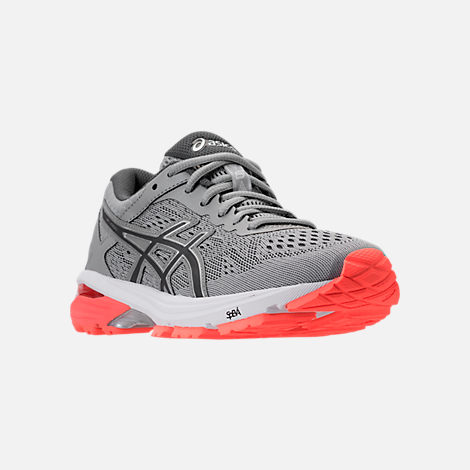 Three Quarter view of Women's Asics GT-1000 4 Running Shoes in Mid Grey/Carbon/Flash Coral