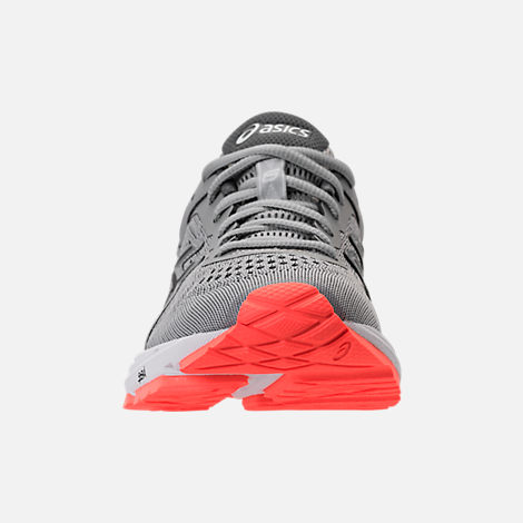 Front view of Women's Asics GT-1000 4 Running Shoes in Mid Grey/Carbon/Flash Coral