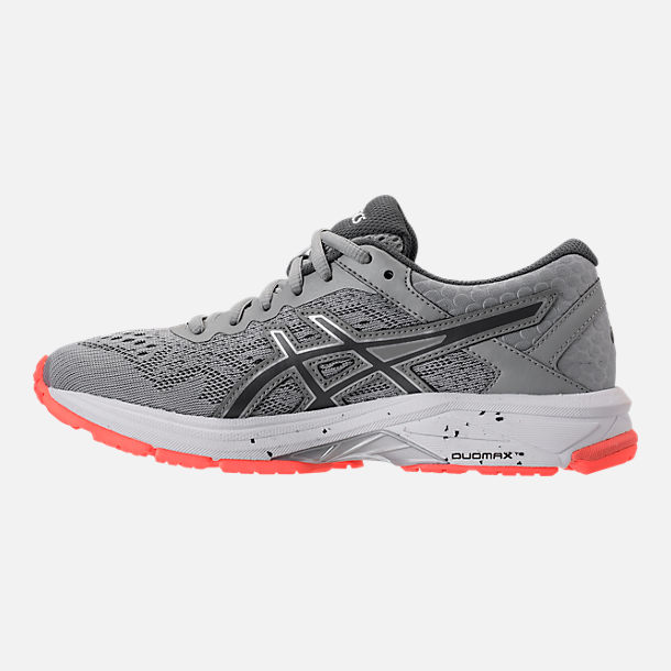 Left view of Women's Asics GT-1000 4 Running Shoes in Mid Grey/Carbon/Flash Coral